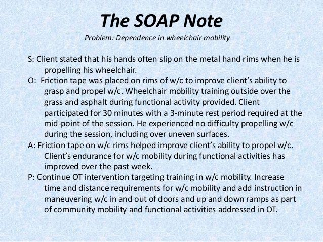 Image Result For Sample Occupational Therapy Soap Note  Ota