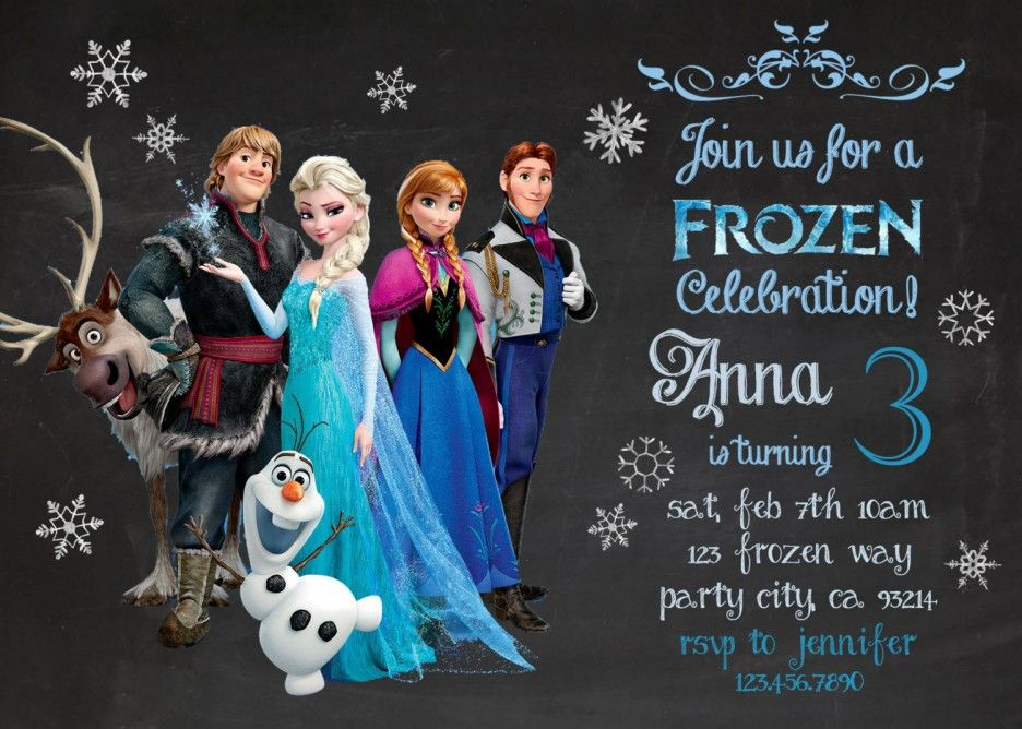 Cartoon Frozen Birthday Party Invitation Card Concept With Black Chalk Board As Frozen Birthday Party Invites Frozen Birthday Invitations Frozen Birthday Party