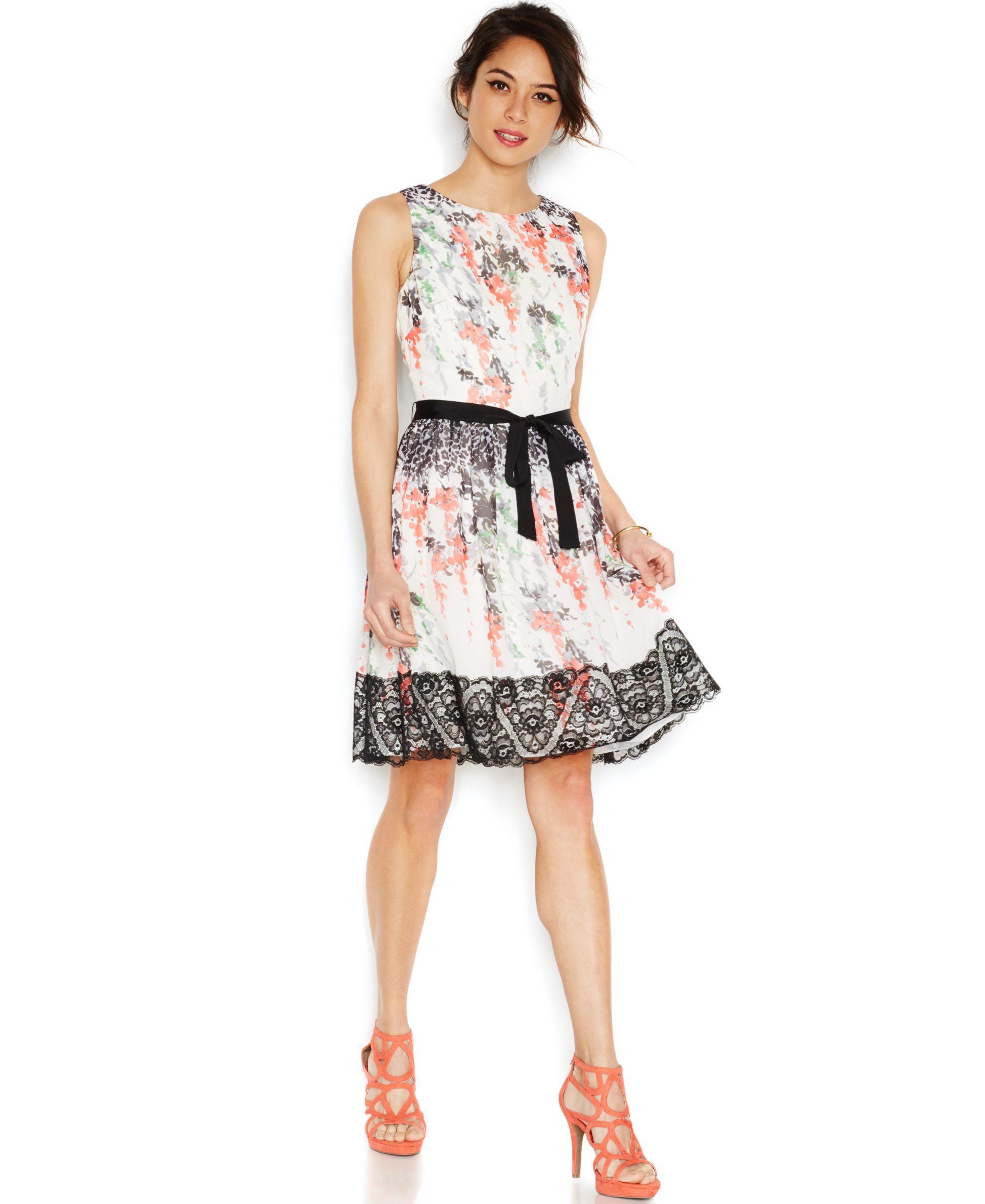 92c0765f9af2 Betsey Johnson Floral-Print Lace-Trim Dress   Products   Pinterest ...