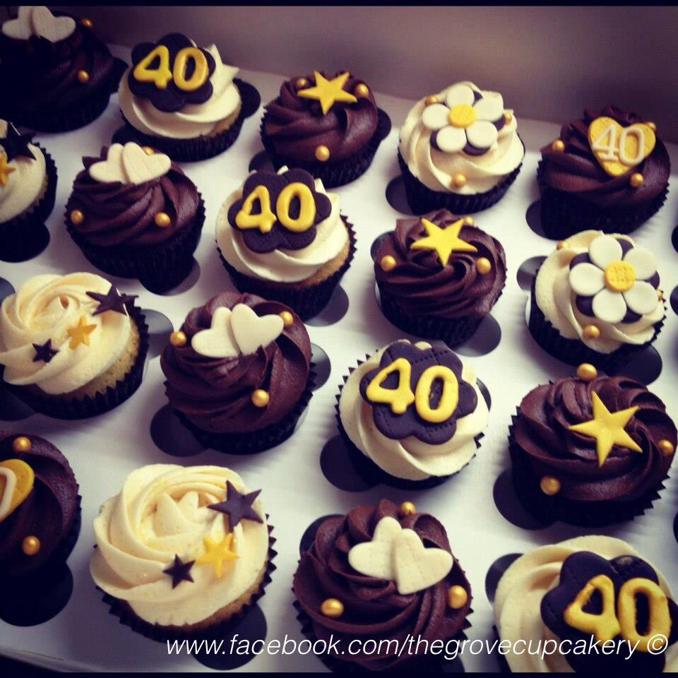 Cupcakes: Gold brown cream themed 40th birthday mini ...