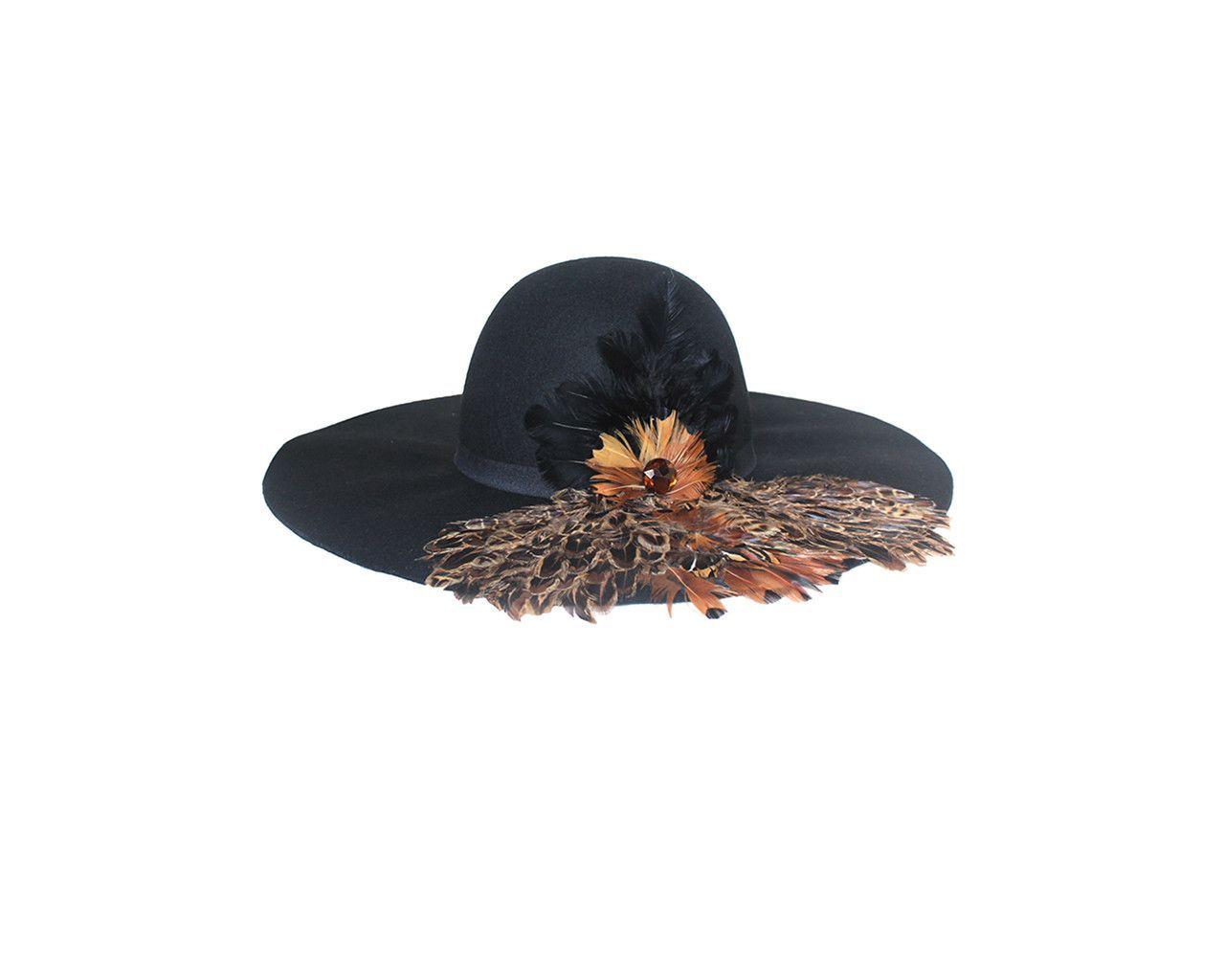 Black Faux Wool Floppy Style Hat - The Ivanka