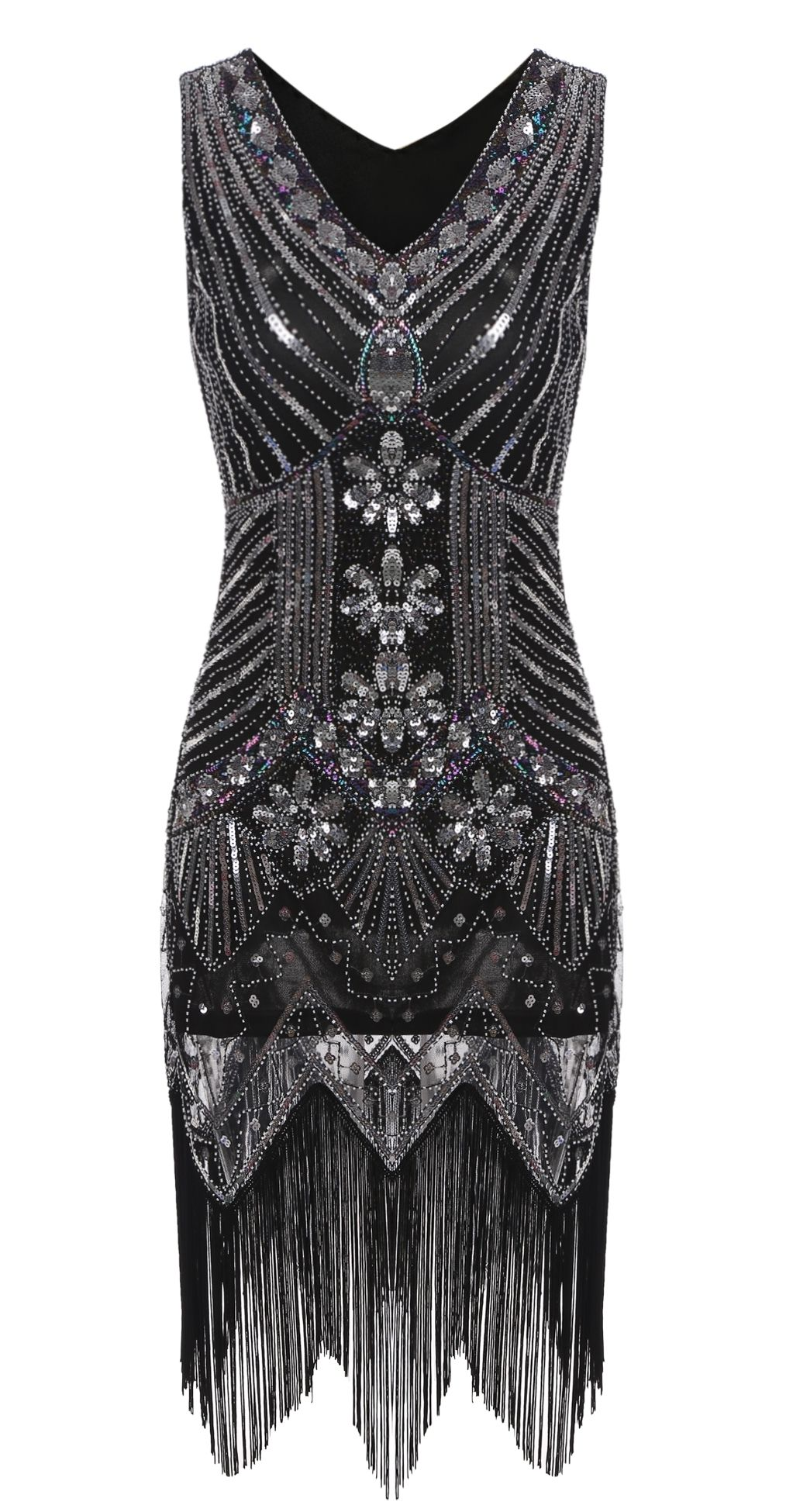 Silver vintage s style tassel sequined flapper party dress