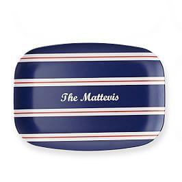 Personalized Melamine Tray, Horizontal Stripes