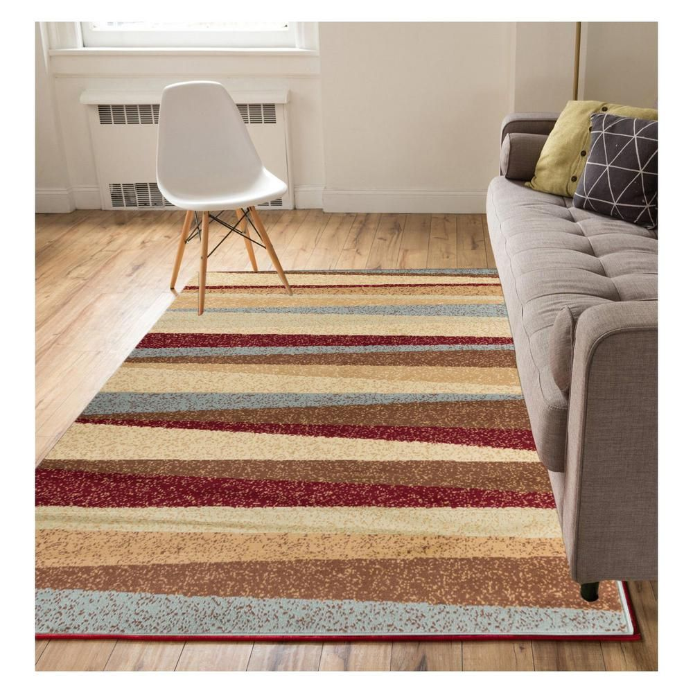 Well Woven Miami Aria Hills Modern Stripe Multi 4 Ft X 5 Ft Area Rug 84024 The Home Depot Well Woven Modern Area Rugs Area Rugs