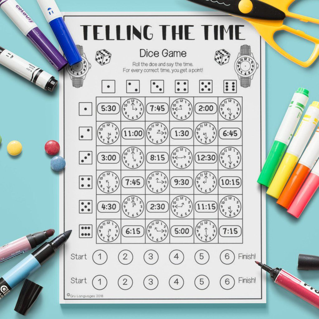 Telling The Time Dice Game