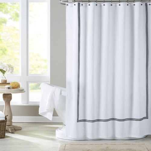 N Y Home Fabric Shower Curtain Liner White