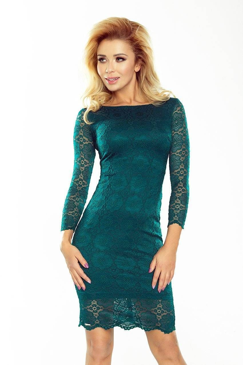 5c00d05e7b21 Classy Green Lace 3 4 Sleeves Without Lining Mini Dress