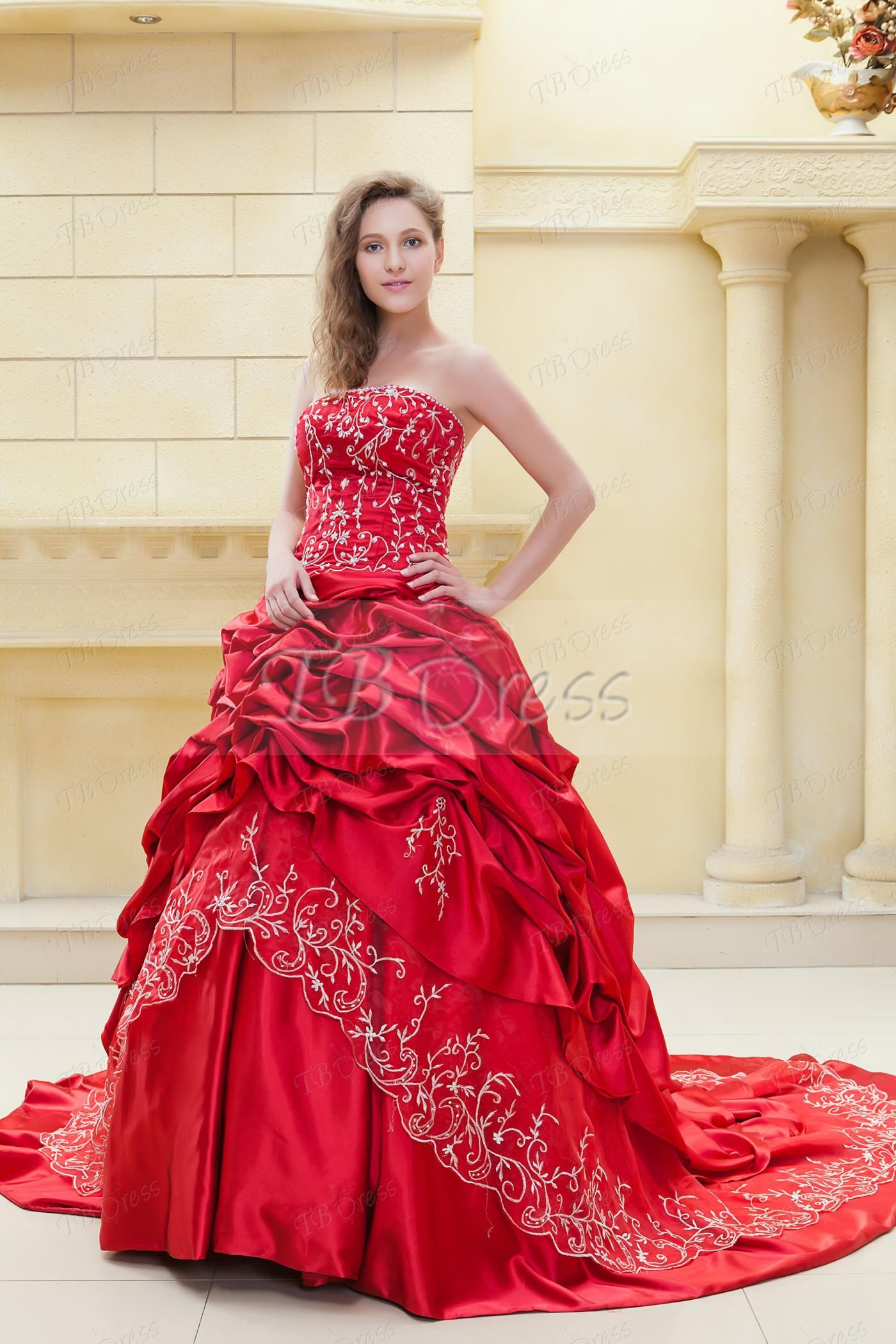 Wedding dress with color  Fabulous Ball Gown Sweetheart Sleeveless Embroidery Elaus Color