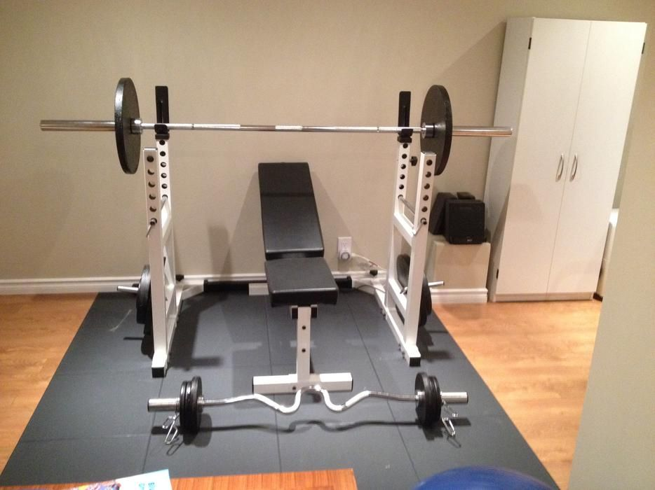 York Pro Series Squat Rack Bench Press Eze Curl Bar And Weights Orleans Ottawa