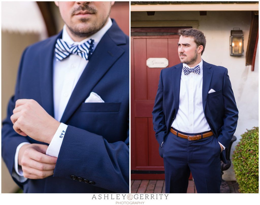 groom, monogrammed shirt, groom outfit, groom inspiration, navy ...