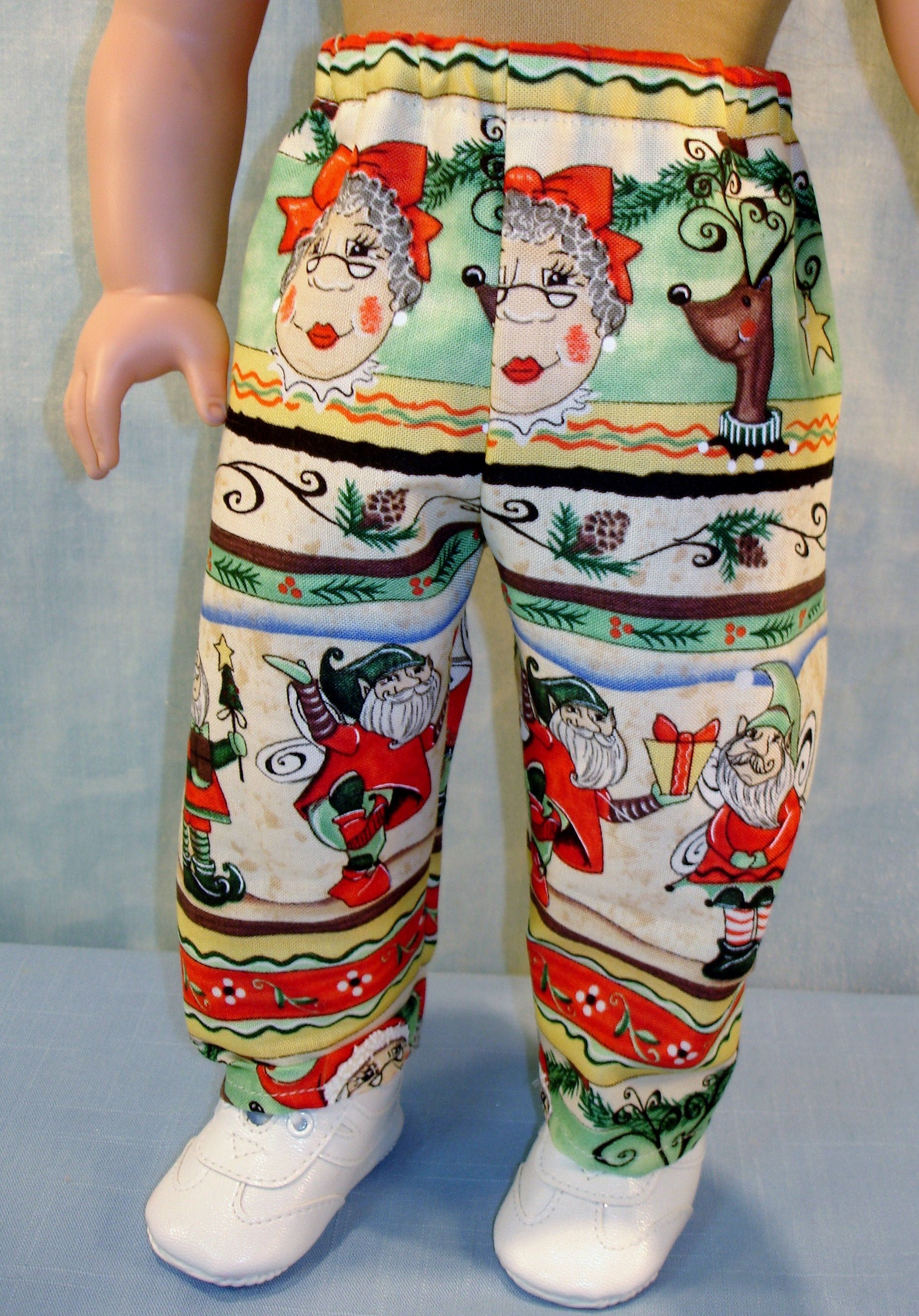 18 Inch Doll Clothes - Santas Elves and Reindeer Christmas Pants handmade by Jane Ellen to fit 18 inch dolls #18inchdollsandclothes