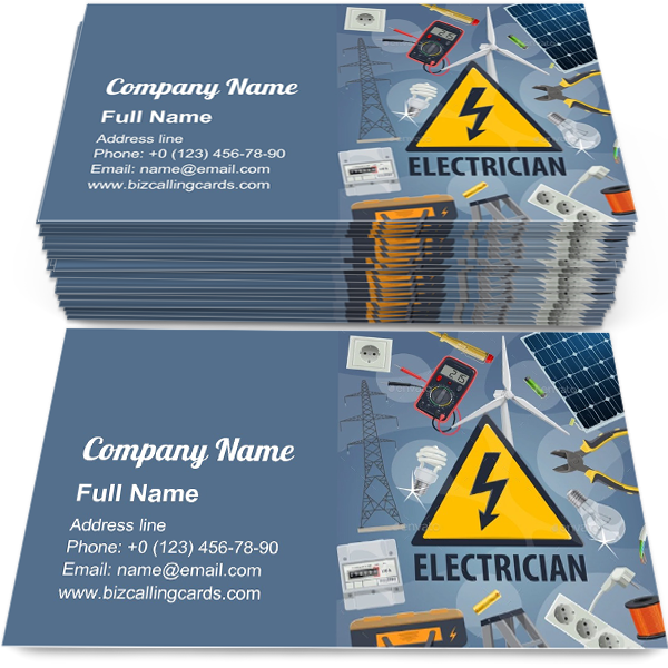 Create Online Electric Service Business Card Template in ...