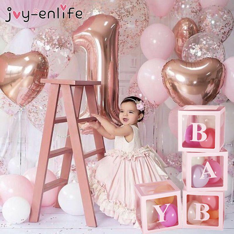 Buchstaben Transparente Box Ballons Zubehör Baby Shower Alles Gute zum Geburtstag Ballons Hochzeitsdekoration Ballons Box Party Ballons