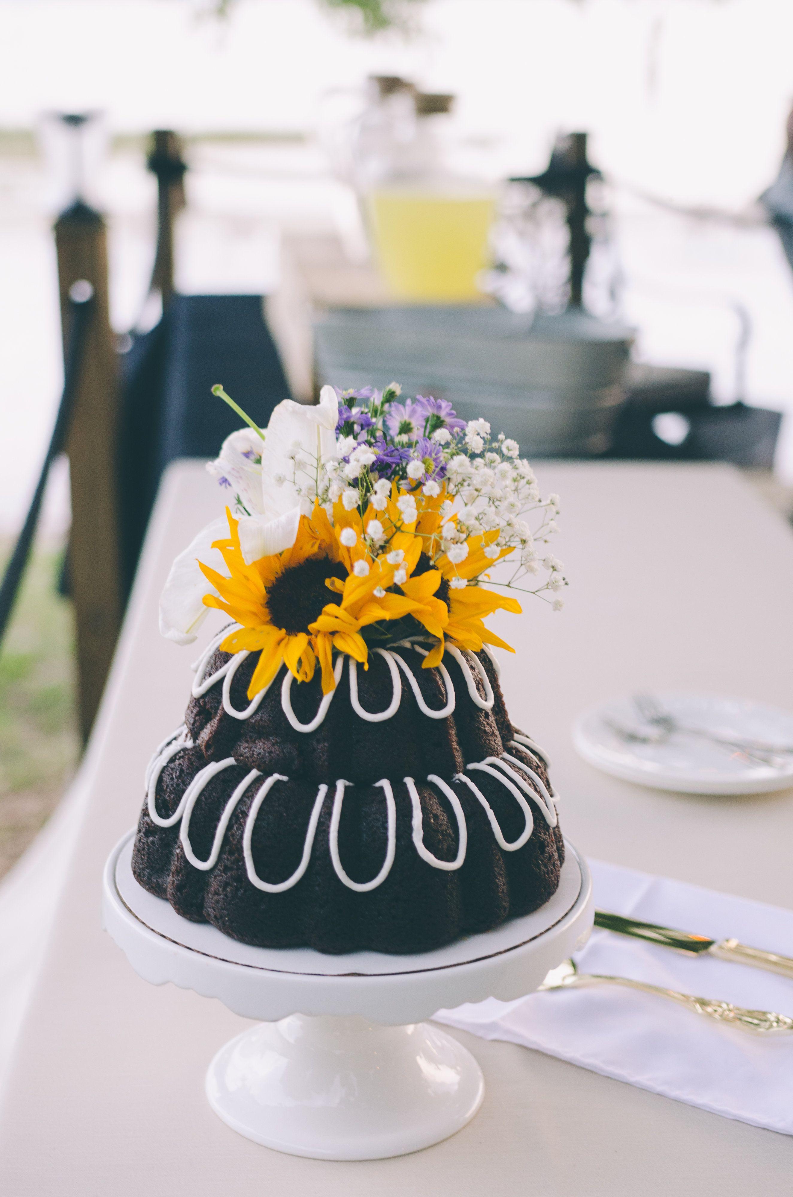 Tiered Bundt Wedding Cake With Sunflower Sunflower