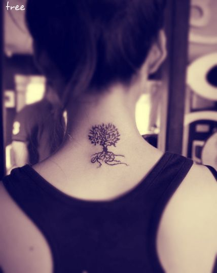 A Tree Tattoo Behind The Neck With Roots Tree Tattoo Girl Tattoo