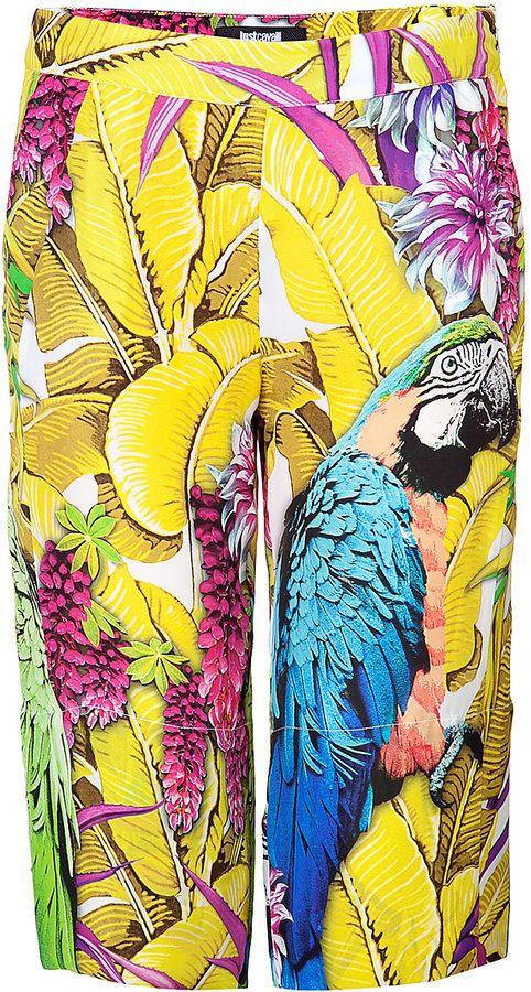 Just Cavalli Silk Parrot Print Culottes on shopstyle.com