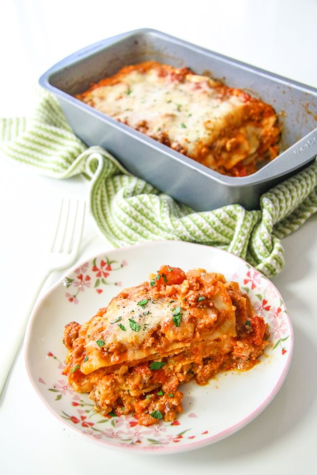 Made 9/14/2016. I used ground turkey. Surprisingly fast, easy and tasty. Lasagna for Two   ChefJulieYoon.com