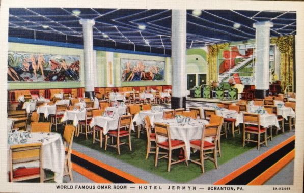 """According to the postcard this is a pic of the """"World Famous Omar Room"""" at the Hotel Jermyn in Scranton, PA. The back reads, """"10 Act Floor Show Nightly, 7:30-10:30-12:30. Cocktail entertainment 3 to 5 P.M."""" #research #scranton #amwriting barbarajtaylor.com"""