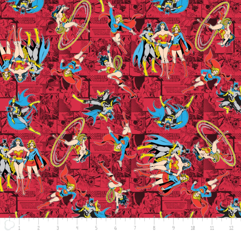 Girl Power Batgirl Supergirl Wonderwoman 100% Cotton Quilting Fabric by the Yard