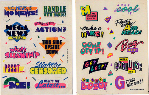 90s stickers typography
