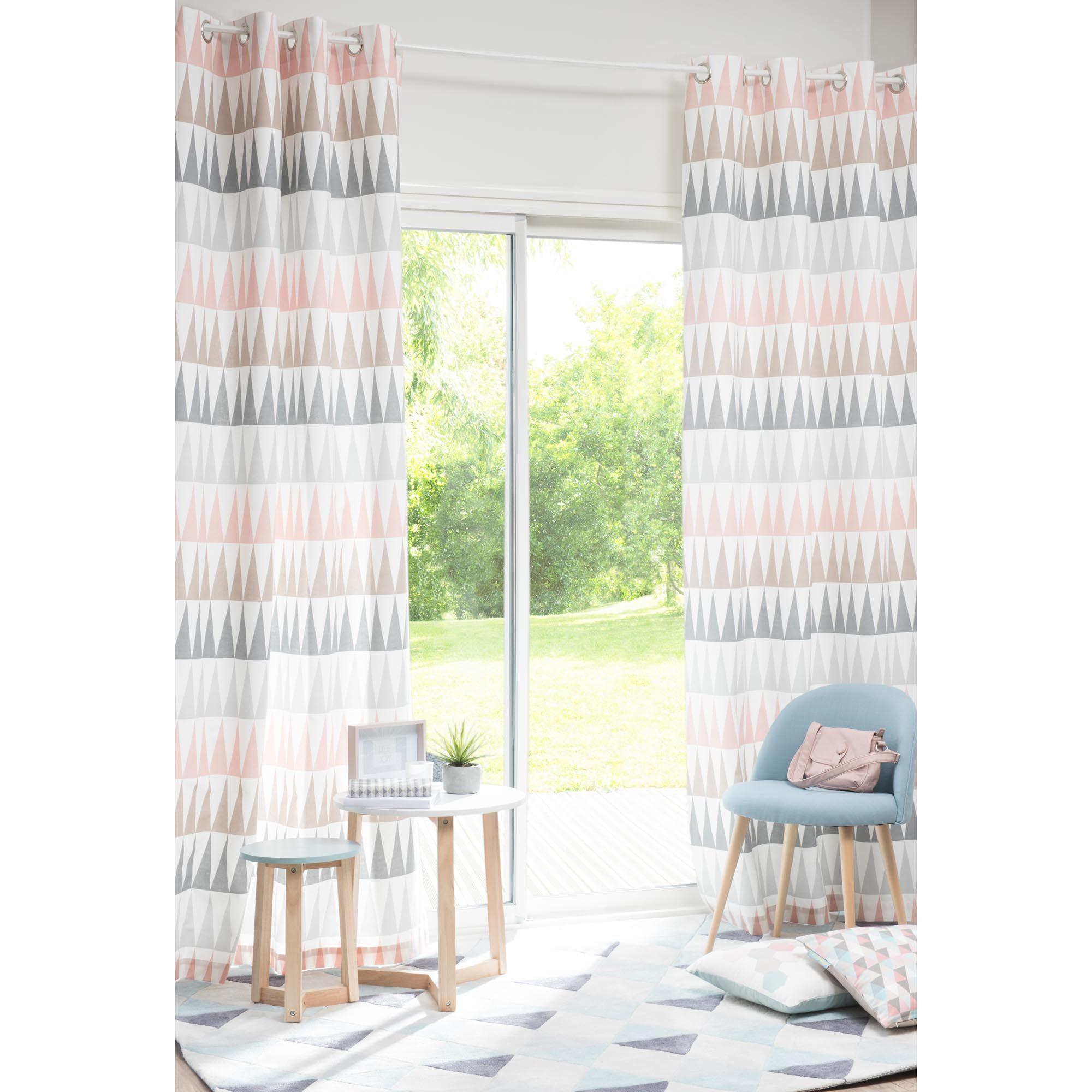rideau illets en coton rose 110 x 250 cm trendy maisons du monde scandinavian living room. Black Bedroom Furniture Sets. Home Design Ideas