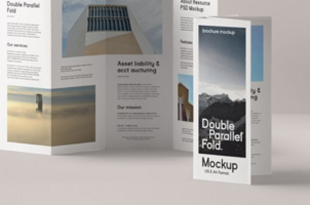 This Is A Four Panels Double Parallel Fold Psd Brochure Mockup