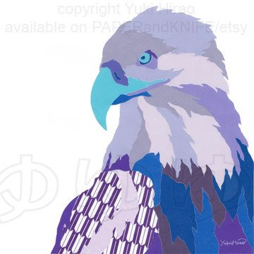 Click here to see my new work: The Blue American Bald #Eagle #Collage #Portrait by PAPERandKNIFE, $29.95