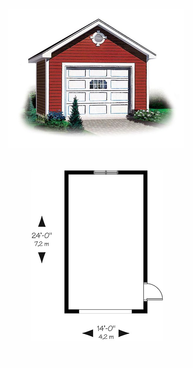 Traditional Style 1 Car Garage Plan Number 65245 With Images Garage Plan
