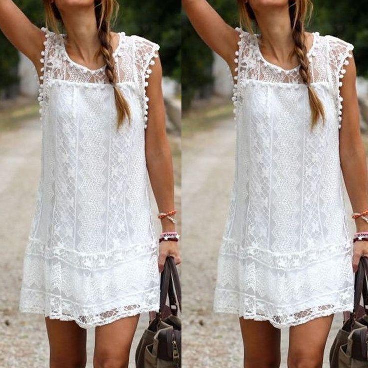 Robe blanche dentelle classe
