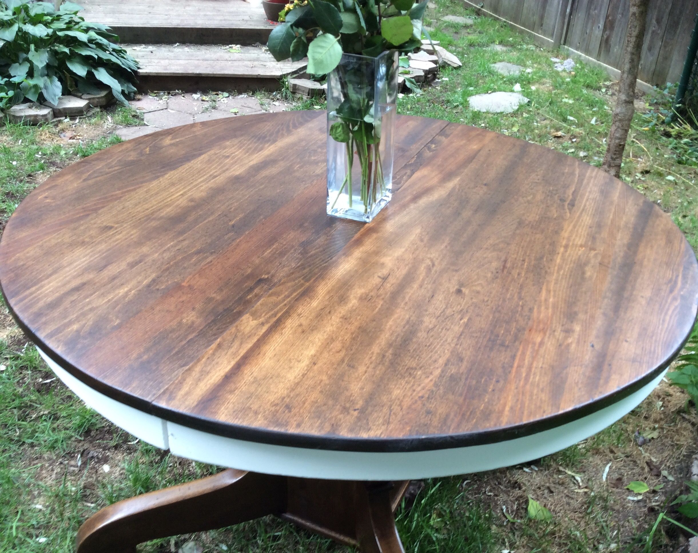 antique oak pedestal table refinished in annie sloan pure white chalk paint and refinished in dark antique oak pedestal table refinished in annie sloan pure white      rh   pinterest com