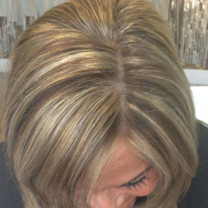 Ashy blonde hilights with neutral brown lowlight
