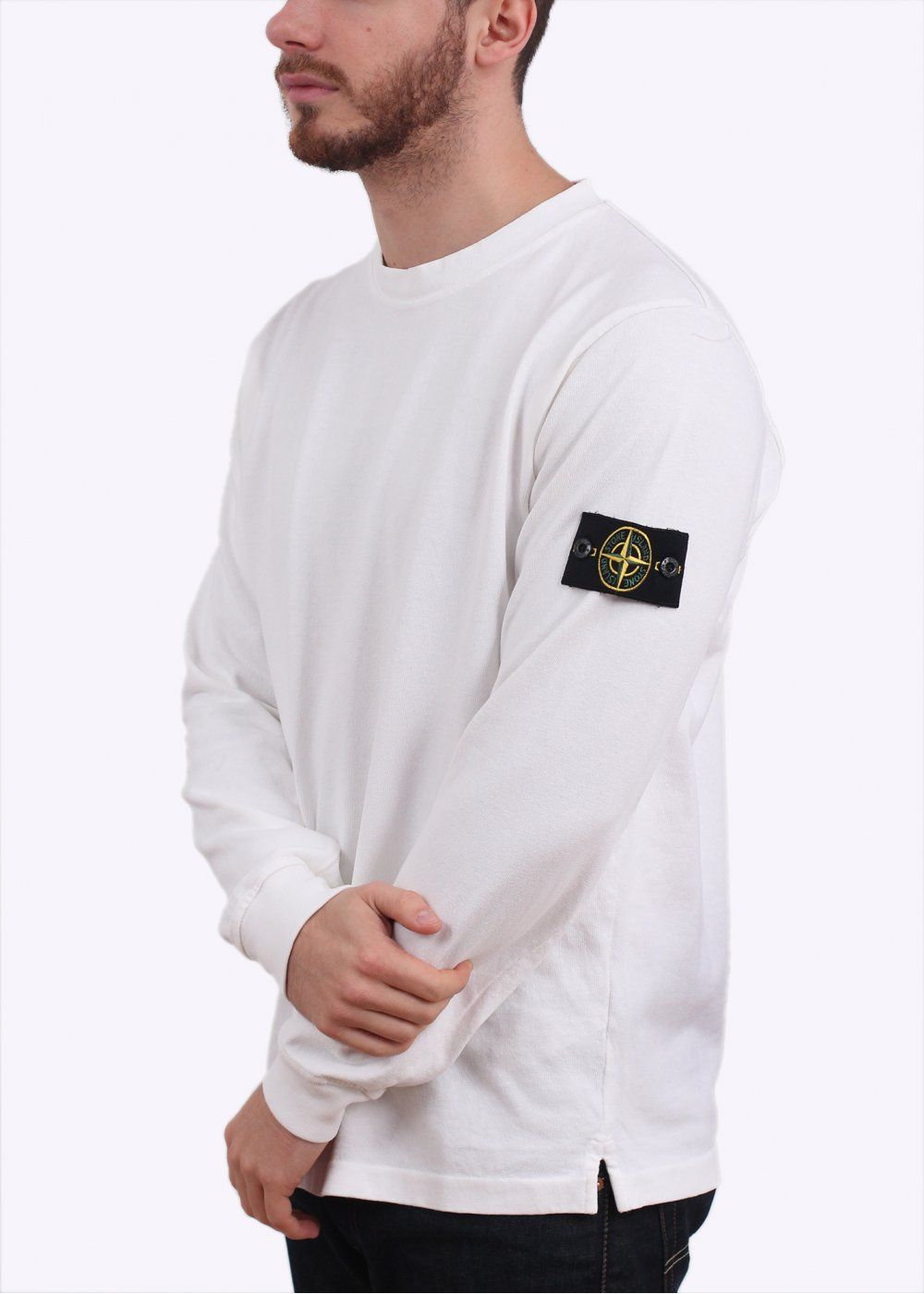 stone island t shirt with badge on arm