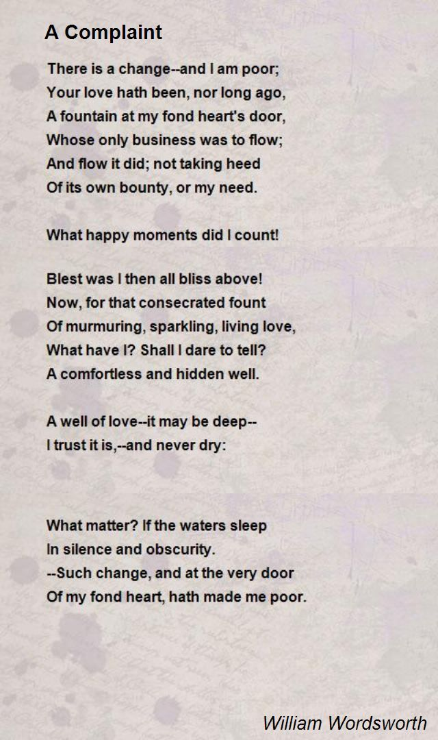 A Complaint By William Wordsworth William Wordsworth Pinterest - complaint words
