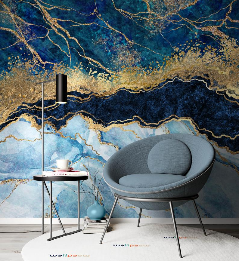 Marble Abstract Design Shades Of Blue Golden Look Yellow Etsy In 2021 Blue And Gold Wallpaper Pink And Purple Wallpaper Yellow Wallpaper