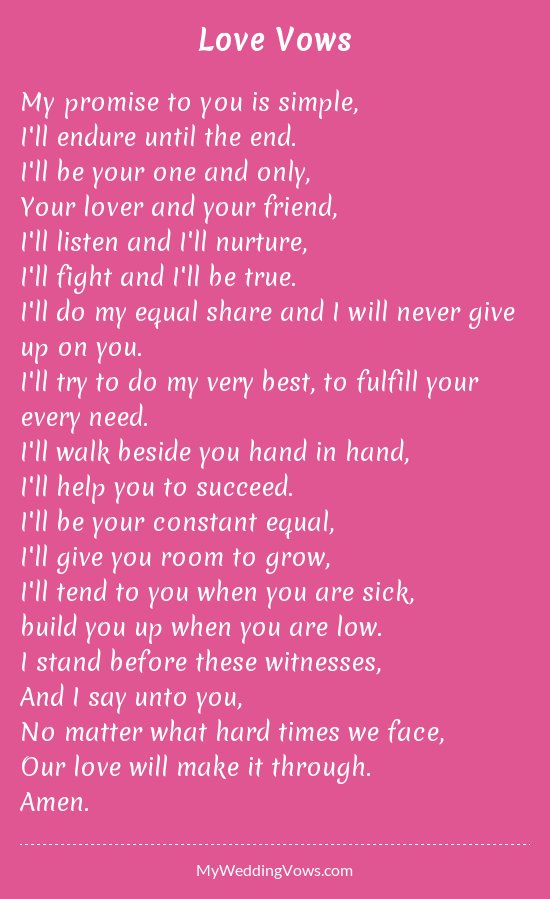 Love Vows | Love vows, Wedding vows to husband, Wedding poems