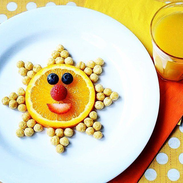 sunshine snack an orange slice some berries and a handful of cereal and voila you ve got yourself a sun source instagram user lettersfromsanta