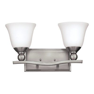 Photo of Hinkley Lighting Bolla 2-light armed wall lamp Finish: brushed nickel, color: opal etched glass