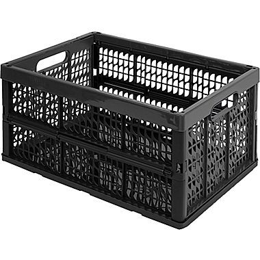 Kis Recycled Collapsible Crate Black With Images Crates Plastic Crates Basket And Crate