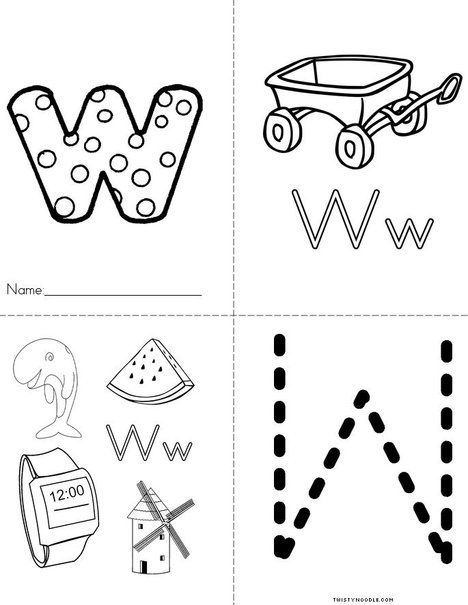 Letter W w Book from TwistyNoodle.| Letter coloring pages