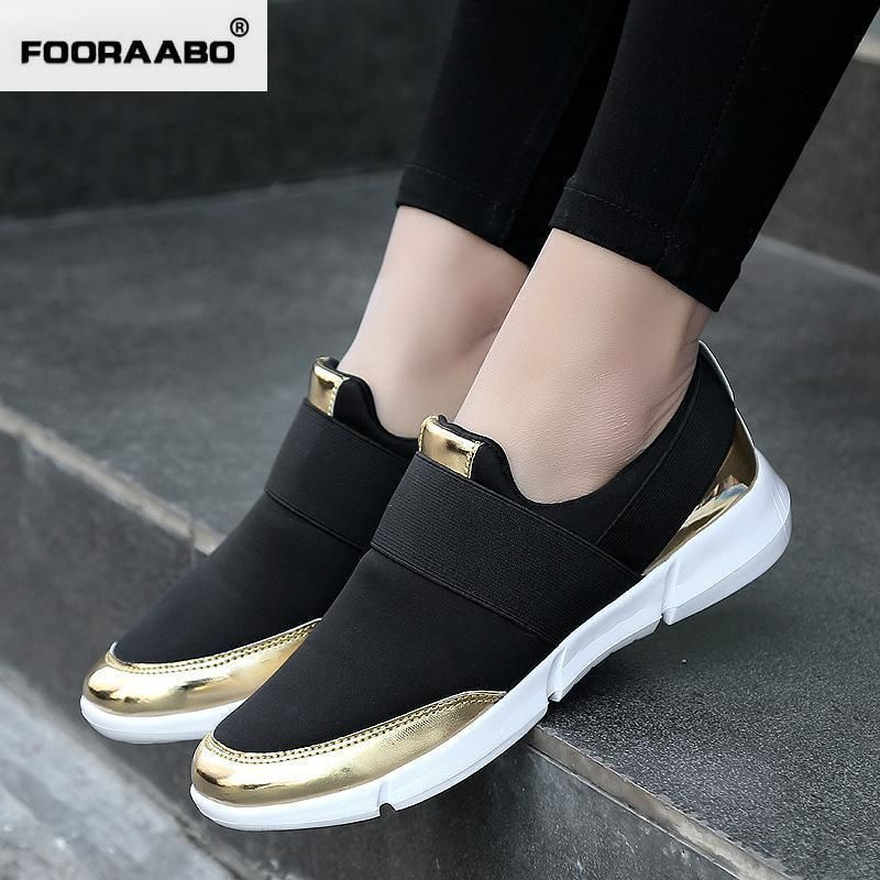 Price tracker and history of women Platform with gold sliver bordered  luxury brand Female Footwear breathable Loafer Shoes for ladies outdoor  walking shoes