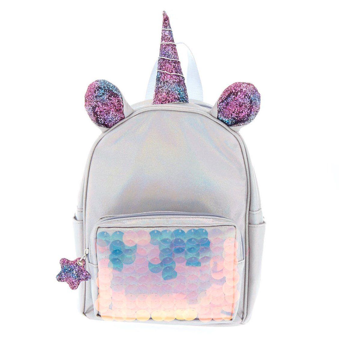 1ceb2ea20ae3d Unicorn Reversible Sequin Mini Backpack - Silver