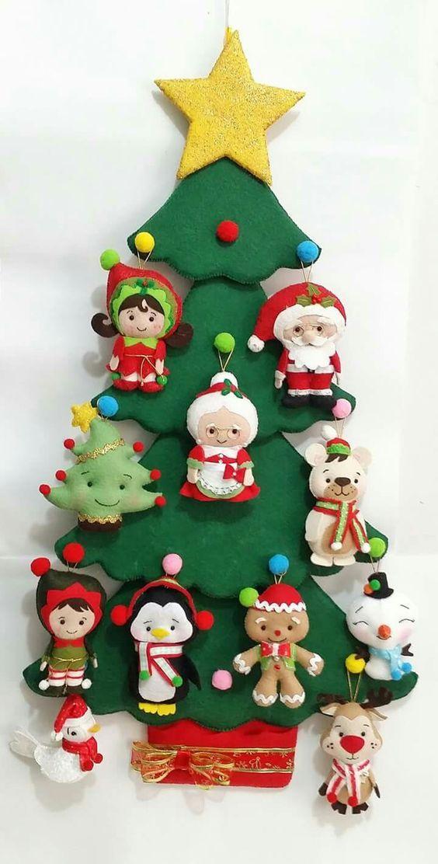 Arbol de navidad en fieltro para la pared natale - Arboles de navidad manualidades navidenas ...