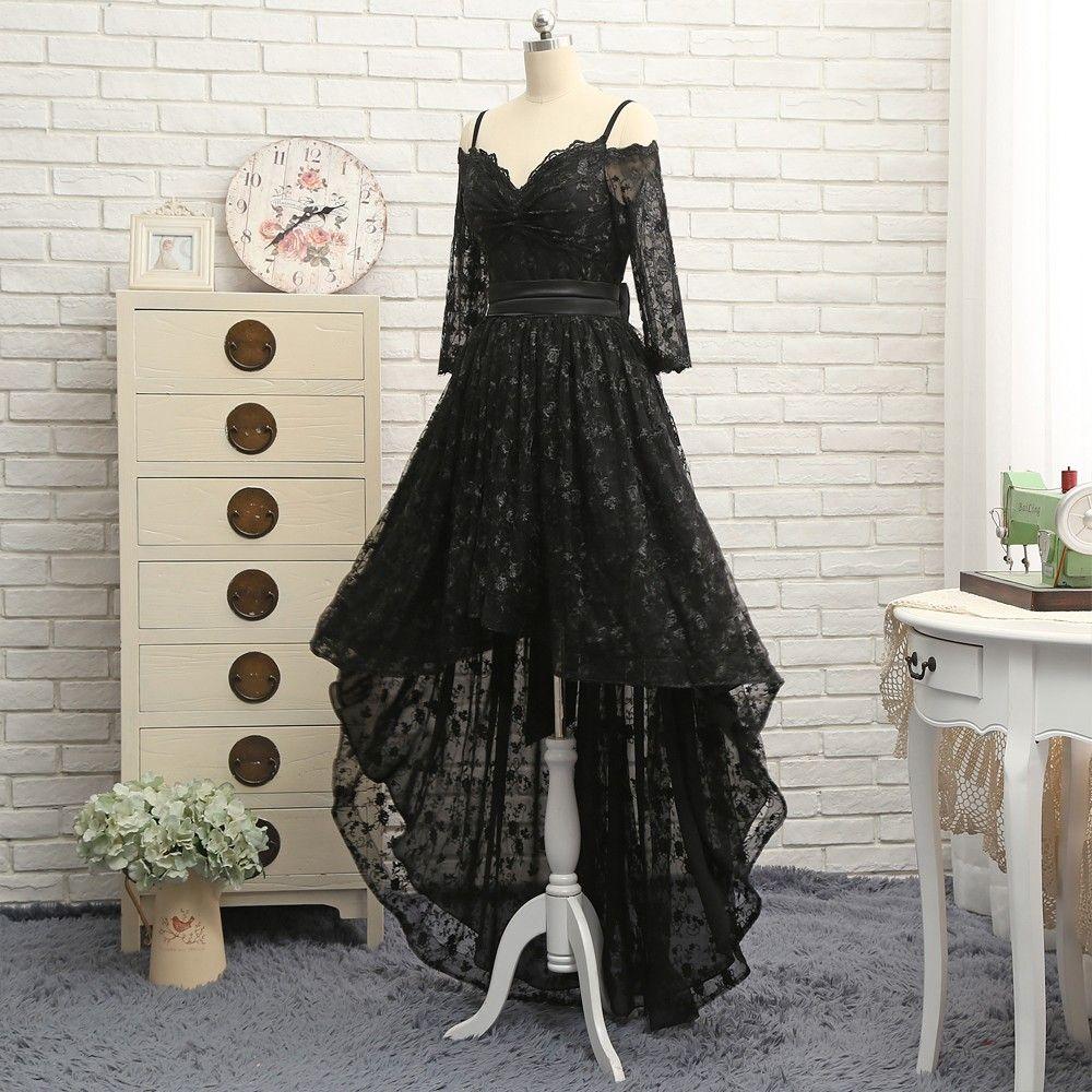 Black aline spaghetti straps short front long back bow lace prom