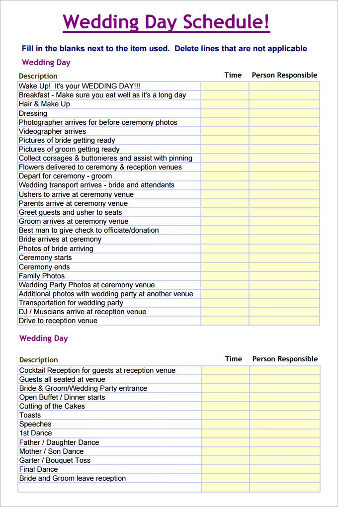 Wedding Schedule Template \u2013 25+ Free Word, Excel, PDF, PSD Format - Day Of Event Timeline Template