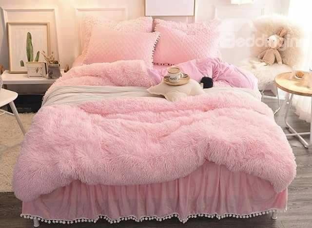 احدث مفارش سرير شتوية موضة شتاء 2018 Fluffy Bedding Bedding Sets Pink Bedding