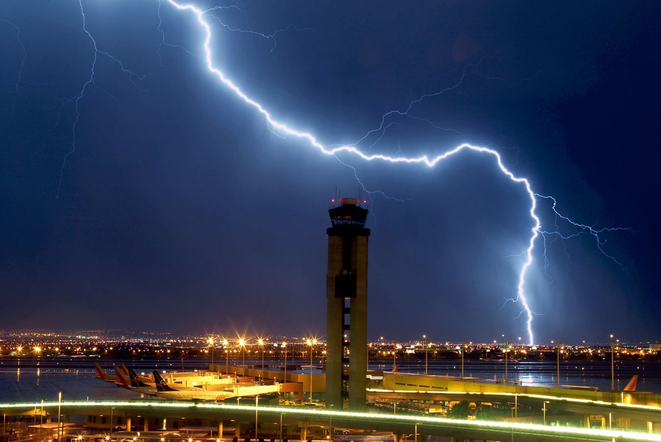 Lightning strikes just south of the McCarran International
