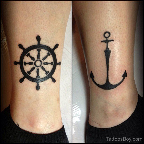 Sailor Black Anchor Tattoos On Legs Anchor Tattoos Wheel Tattoo Ship Wheel Tattoo Tattoos