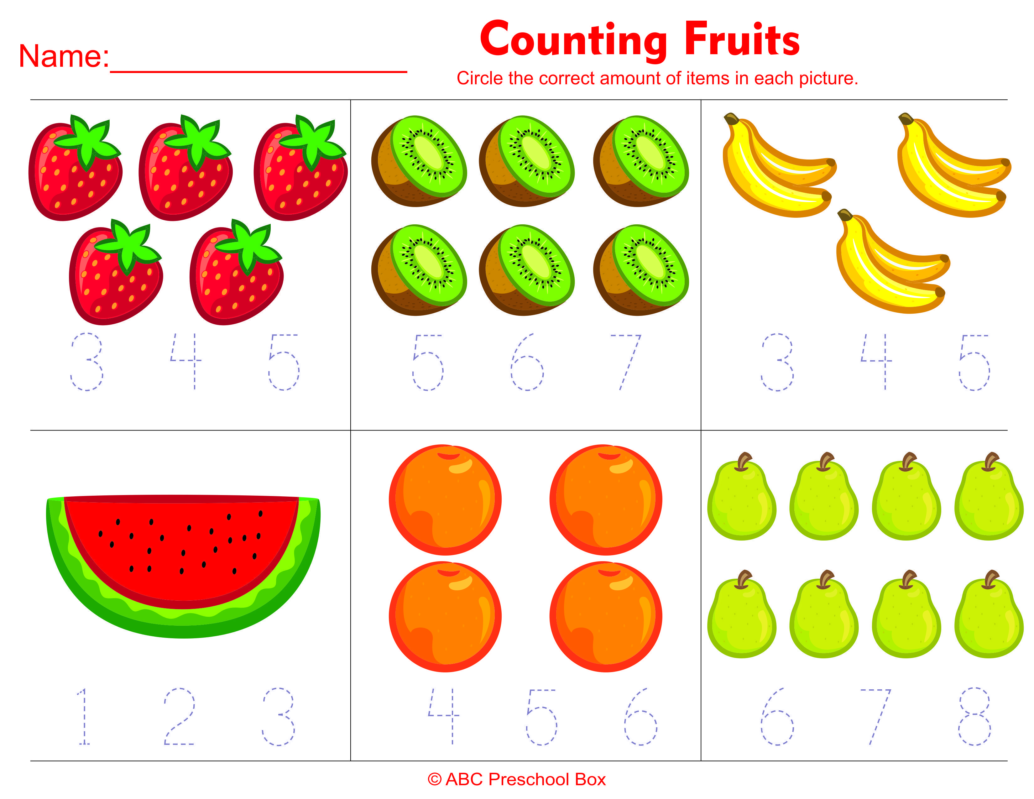 Count Food Worksheets For Kindergarten
