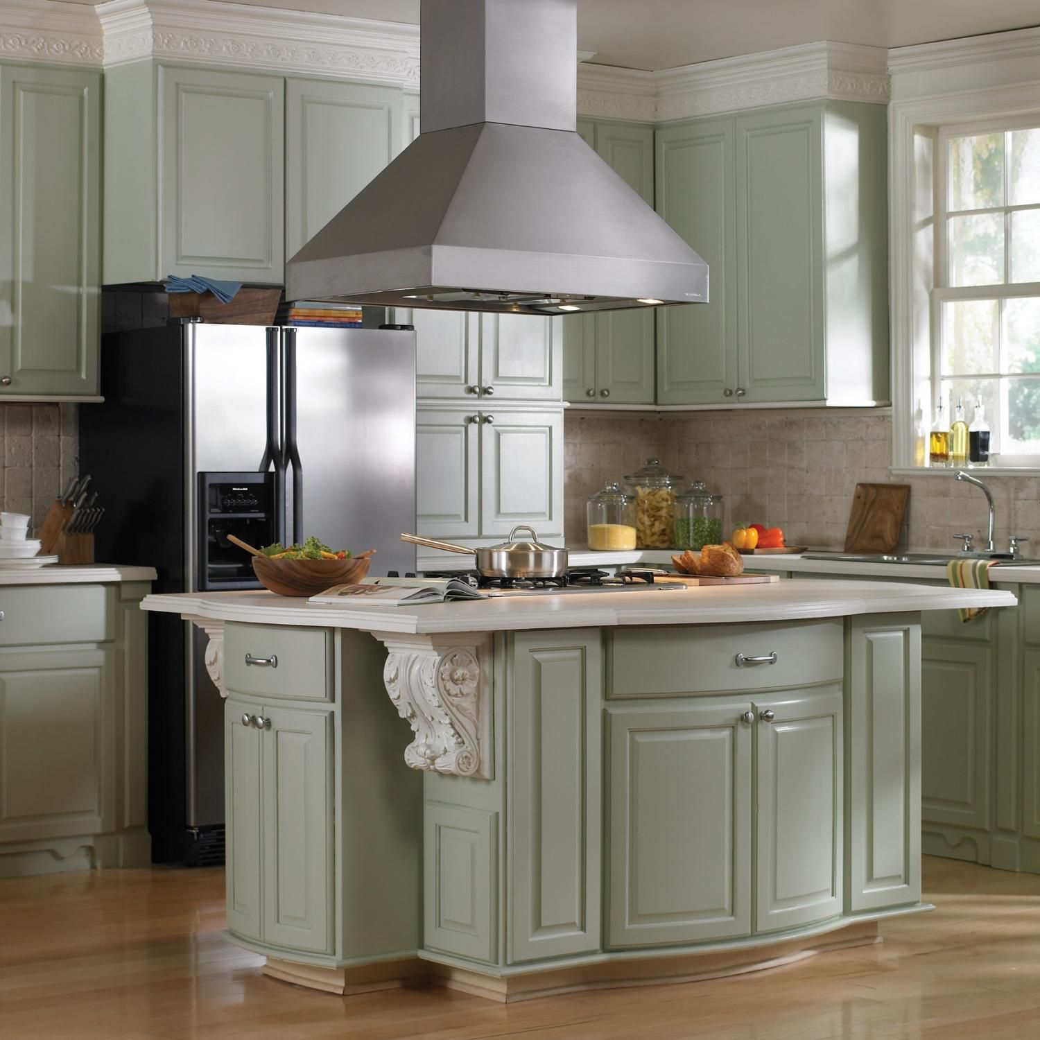 Kitchen Cabinets That Hang From The Ceiling: Ceiling: Fabulous Hanging Range Hood Over Small Island