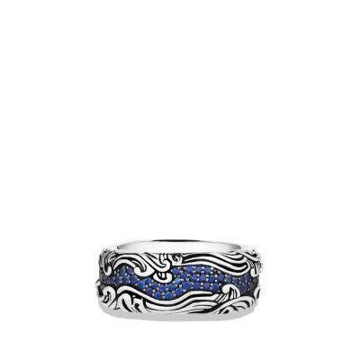 Waves Wide Band Ring with Sapphires